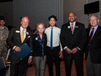 Among those marking the 50th anniversary of Berkmar High were Lilburn Mayor Johnny Crist, District V School Board Member Louise Radloff, Berkmar High Student Kendall Castaneda, Principal Al Taylor and CEO/Superintendent J. Alvin Wilbanks.