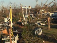 This photograph shows some of the destruction of a tornado which hit Albany, Ga., last week. The City of Lawrenceville Electric Division sent four people, plus a bucket truck and equipment, to help in the restoring of power for four days, from Tuesday to Friday. A total of 23 cities sent crews to South Georgia to help in the cleanup, while two contractors also sent crews.