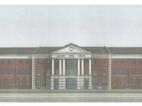 Drawing of future Buford High School. Construction is underway.