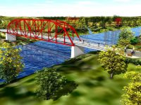This is a proposed conception for a new pedestrian bridge at Rogers Bridge Park. Duluth is working with other governments on this proposal.