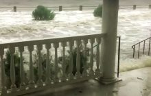Waves from the Ashley River crash onto the porch of this Murray Boulevard porch in Charleston during Hurricane Irma's storm surge. (Photo via CharlestonCurrents.com)